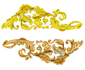 collection vintage gold and wooden baroque floral scroll filigre