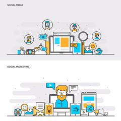 Flat line color concept- Social Media and Social Marketing-Color