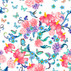 seamless texture with fantasy floral and butterflies. watercolor