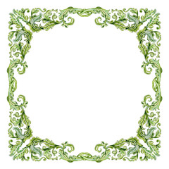vintage frame with green baroque floral scroll filigree. waterco
