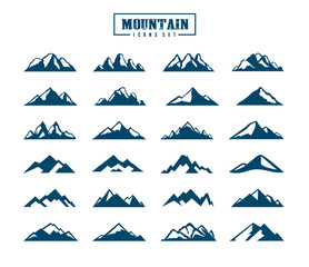 Mountain icons set. Vector illustration.