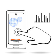 Smartphone touchscreen application and mobile connection vector illustration