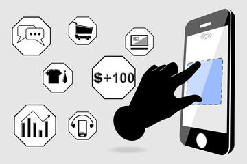 Smartphone touchscreen application and mobile connection icon vector illustration