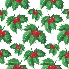 Seamless watercolor pattern: Merry Christmas Mistletoe