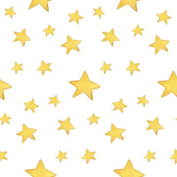 Seamless watercolor pattern: Merry Christmas, yellow stars
