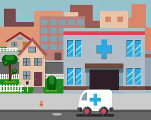 Cartoon Street Hospital Stylish Background Retro Design Vector Illustration