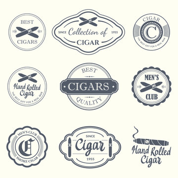 Vector Illustration with logo and labels. Simple symbols  tobacco  cigar. Traditions of smoke. Decorative elements  icon for your design. Gentleman style.