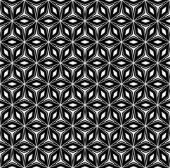 Vector seamless pattern, repeat monochrome geometric texture, oriental style mosaic, black & white figures. Abstract ornamental background. Design element for prints, decoration, digital, cover, web