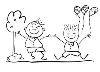 Kindergarten Kinder mit Ballons Freihandskizze Vektor Illustrati