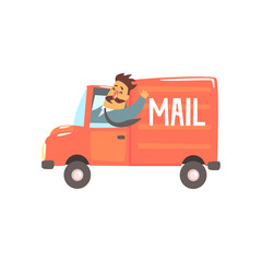 Postman Driving Red Mail Truck Smiling