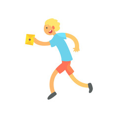 Boy Running Fast To Deliver A Letter