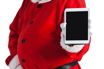 Mid-section of santa claus showing digital tablet