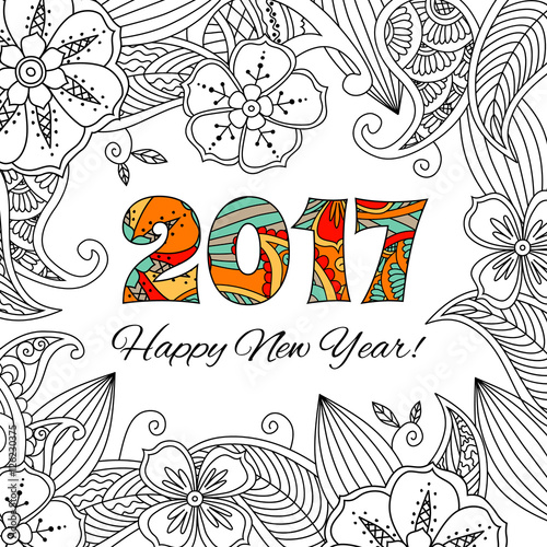New Year Card With Numbers 2017 On Floral Background