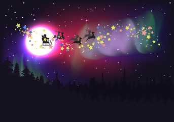 Flying Santa over Aurora Borealis