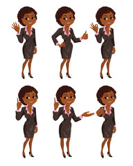 Set of smiling cartoon African American business woman with different gestures: hello, ok, thumb up, attention, presentation, finger up. Vector illustration isolated on white background.