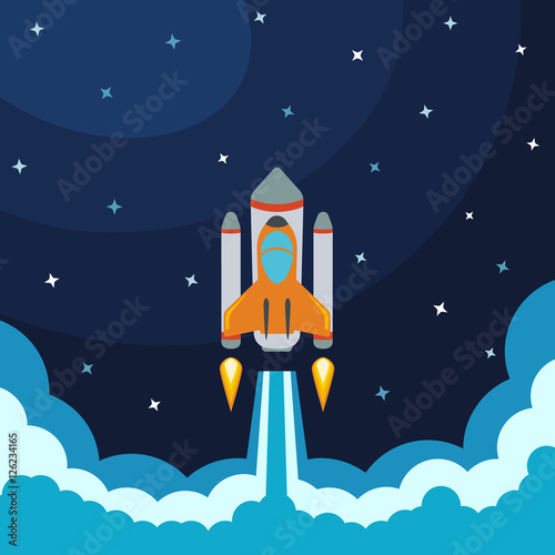 space rocket launch vector illustration with flying rocket space travel project development. Black Bedroom Furniture Sets. Home Design Ideas