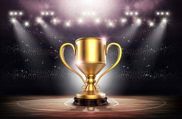 Winners Cup In Basketball Stadium 3d Rendering