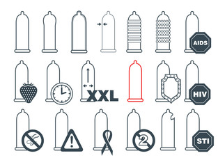 Collection of condoms icons. Contraception symbols. Vector illustration.