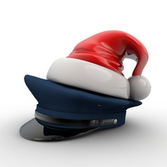 3D Illustration of police hat wearing a santa hat