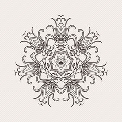 Vector mandala. Mehndi lace tattoo. Art Nouveau weave.