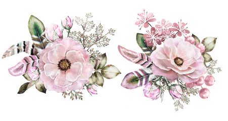 .Set of watercolor vintage floral bouquets. Boho spring flowers, berry,  and leaf frame isolated on white background. branch Flowers with bud and feathers. Floral composition. Illustration