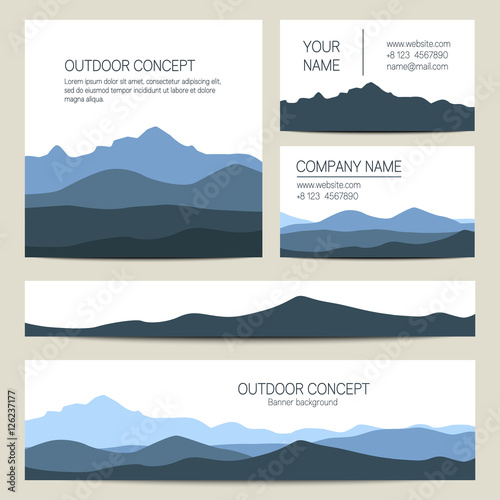 Set of blue mountains backgrounds vector templates design for set of blue mountains backgrounds vector templates design for business cards greeting prints m4hsunfo