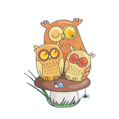 Mama-owl with two sleepy owlets sitting on mushroom