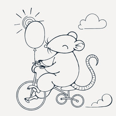Illustration with a cheerful rat on a bike with balloon. Coloring page.