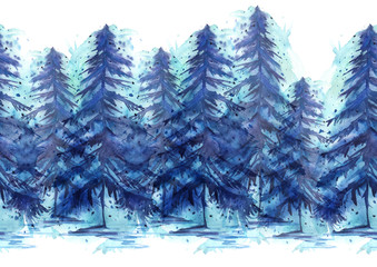 Watercolor border. It consists of the elements of trees pine, spruce, winter forest. The pattern on a white background isolated
