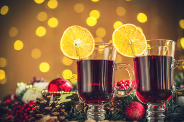Christmas hot mulled wine on new year bokeh background. The idea for postcards. Soft focus. Shallow DOF