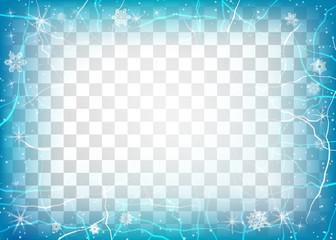 Frame of ice on transparent background. Winter frame.
