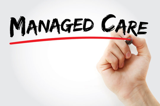 Hand writing Managed care with marker, concept background
