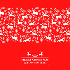 Christmas red card with snowflakes and deer