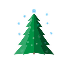 Spruce and snowflake isolated