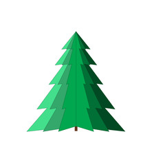 Spruce isolated. Silhouette design green tree on white background. Symbol of winter, decoration and Christmas holiday season. Graphic element. Flat image. Vector illustration