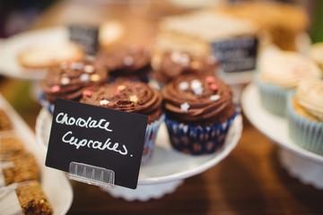 Close-up of chocolate cupcakes at counter
