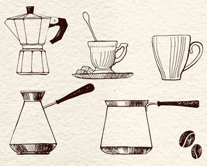 Set coffee dishes: coffee pot, traditional coffee pot, cups and coffee beans. For coffee house, restaurant menu. Vector image