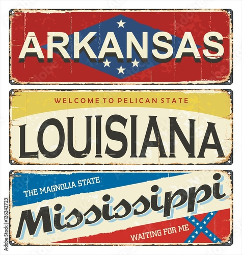 Vintage tin sign collection with america state arkansas for Louisiana id template