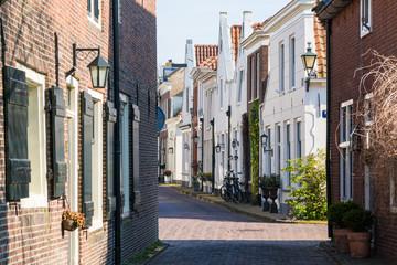 Narrow street in old town of Naarden, Netherlands