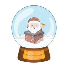 Lovely snowglobe with Santa looking out of a chimney and holding