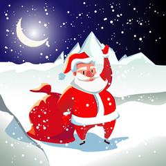 Открытка с Сантой Клаусом с белой бородой и к красном костюме. В руках у Санты мешок с подарками. Новогодняя зимняя ночь.