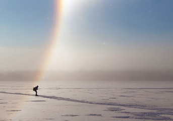TROSA SWEDEN Jan 19 2016. A man on skates on a frozen sea. THIS IMAGE IS NOT TAMPERED: This is what it looked like in reality. NO FILTER IS USED..