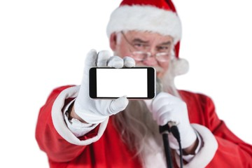 Santa claus showing mobile phone