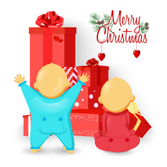 babies and Christmas gifts, vector