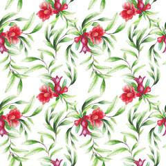 beautiful original blooming pomegranate brunch. watercolor art. pattern