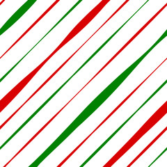 Candy Cane Red and Green Stripes Seamless Pattern