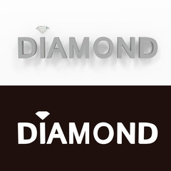 Diamond - gray text on a white background - 3D rendered royalty free stock picture.
