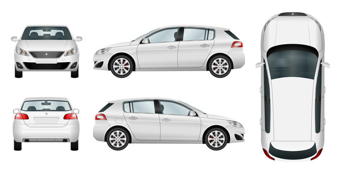 Car vector template on white background. Hatchback isolated. All elements in groups on separate layers. The ability to easily change the color.