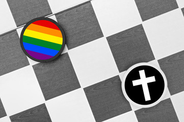 Christianity vs LGBT community - conflict between gays / lesbians and catholic church. Negative attitude towards homosexuals - homosexuality and homosexuals as sin and sinners