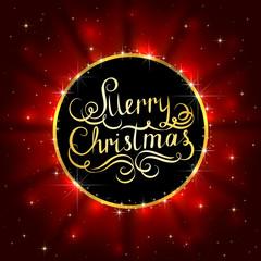Inscription Merry Christmas on black banner